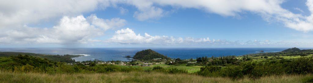 Panoramic view looking down on Hana Maui from Fagan's Cross